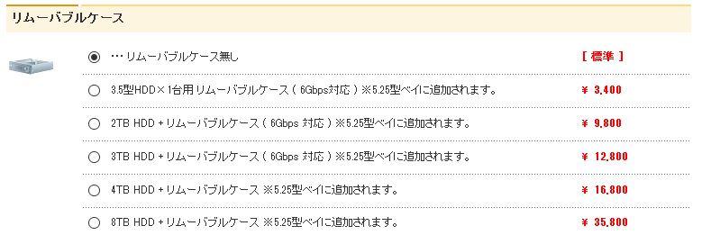 自動生成された代替テキスト:  リムーハフ】レケース ◎ 0 0 0 0 0 ・リムーパゴルケース無し 8f4!HDDx1台用リムーパゴルケース(6Gbps*•1LE)※525型べイこ加されます。 8T日HDD+リムー丿、ゴ丿レケース(6Gbps*9LE)※525型べイこカロされます。 2T日HDD+リムー丿、ゴ丿レケース(6Gbps*9LE)※525型べイこカロされます。 4T日HDD+リムー丿、ゴ丿レケース※525型べイ 8T日HDD+リムー丿、ゴ丿レケース※525型べイ こ加されます。 こ加されます。 [準] 3.400 9.800 ー2.800 ー6.800 35.800